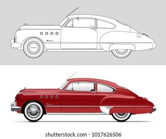 NOVI SAD, SERBIA - February 05, 2018: Vector illustration of Buick Roadmaster 1949, eps10, vector, illustrative editorial - stock vector. Classic oldtimer car.