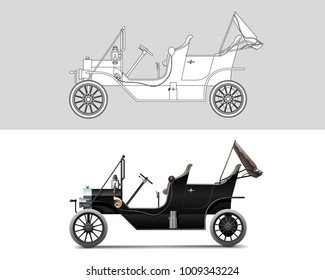 NOVI SAD, SERBIA - JANUARY 25, 2017: Vector illustration of Ford Model T 1910 , eps10, vector, illustrative editorial - stock vector