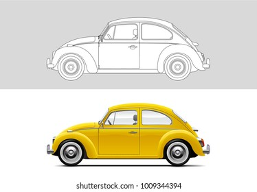 NOVI SAD, SERBIA - JANUARY 25, 2017: Vector illustration of Volkswagen Beetle , eps10, vector, illustrative editorial - stock vector