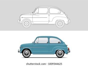 NOVI SAD, SERBIA - JANUARY 25, 2017: Vector illustration of Fiat 500 1957 - 1975, eps10, vector, illustrative editorial - stock vector