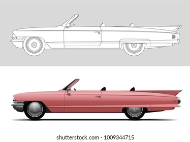 NOVI SAD, SERBIA - JANUARY 25, 2017: Vector illustration of Cadillac DeVille 1960 , eps10, vector, illustrative editorial - stock vector