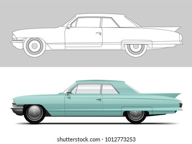 NOVI SAD, SERBIA - JANUARY 30, 2018: Vector illustration of Cadillac DeVille 1960, eps10, vector, illustrative editorial - stock vector. Old timer, classic car.