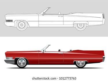 NOVI SAD, SERBIA - JANUARY 30, 2018: Vector illustration of Cadillac DeVille 1967, eps10, vector, illustrative editorial - stock vector. Old timer, classic car.