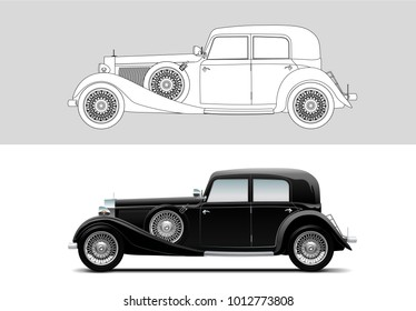 NOVI SAD, SERBIA - JANUARY 30, 2018: Vector illustration of Mercedes-Benz 380, 1933, eps10, vector, illustrative editorial - stock vector. Old timer, classic car.