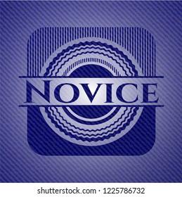 Novice badge with denim background