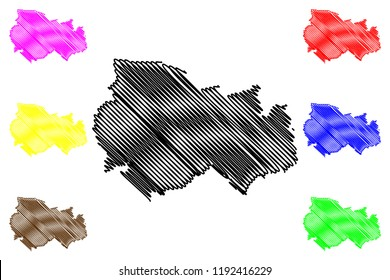 Novosibirsk Oblast (Russia, Subjects of the Russian Federation, Oblasts of Russia) map vector illustration, scribble sketch Novosibirsk Oblast map