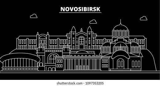 Novosibirsk silhouette skyline. Russia - Novosibirsk vector city, russian linear architecture, buildings. Novosibirsk travel illustration, outline landmarks. Russia flat icon, russian line banner