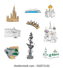 Novospassky Monastery, Monument to Peter the, Kremlin view from above, icons historic church building in Moscow , vector