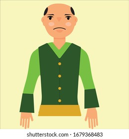 Novruz character Kechel. People character vector illustration flat design