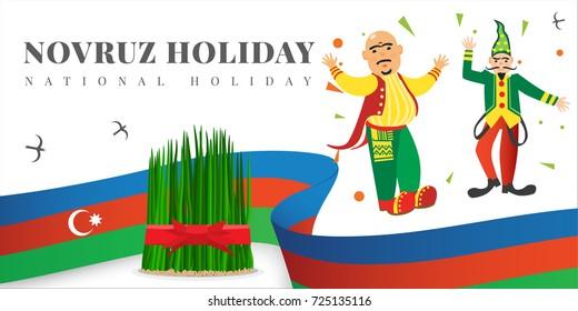 Novruz holiday cartoon emotion characters Kosa and Kechel Azerbaijan flag vector banner design. Semeni with red gold ribbon icon Nowruz, nevruz, nooruz