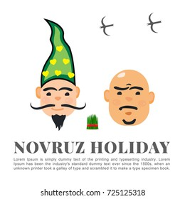 Novruz holiday characters Kosa and  Kechel vector banner design. Semeni with red gold ribbon icon Nowruz, nevruz, nooruz