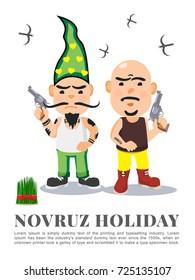 Novruz holiday ganster cartoon danger emotion characters Kosa and Kechel vector banner design. Semeni with red gold ribbon icon Nowruz, nevruz, nooruz