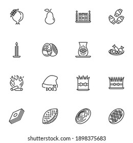 Novruz holiday line icons set, outline vector symbol collection, linear style pictogram pack. Signs, logo illustration. Set includes icons as sweet food, semeni wheat, eggs, shekerbura, baklava, gogal