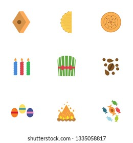 Novruz holiday symbol flat icons on white background, with green, sweets, nuts, colorful eggs and fire.
