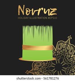 Novruz holiday vector banner design. Semeni with gold ribbon icon.