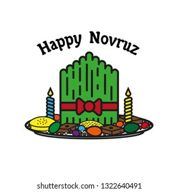 Novruz holiday vector illustration with grass, sweets and candles