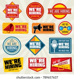 Now hiring employer, promotion at work vector badge and labels. We hiring label and badge sticker collection illustration