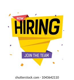 Now hiring, join the team lettering on yellow origami speech bubble with violet spots. Inscription can be used for announcements, leaflets, posters, banners.