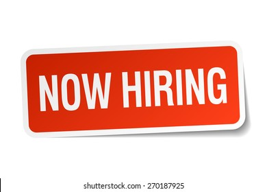 now hiring red square sticker isolated on white. now hiring sticker. now hiring. now hiring sign