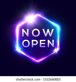 Now Open neon text. Light sign on dark blue background. Color hexagon glowing electric frame with shining star. Retro bright nightlife advertising bar or cinema signboard. Business vector illustration