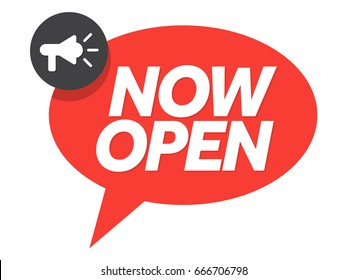 Now open sign with chat bubble and megaphone. Vector illustration isolated on white.