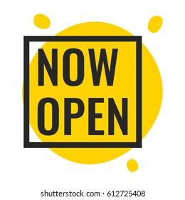 Now open. Vector illustration on white background.