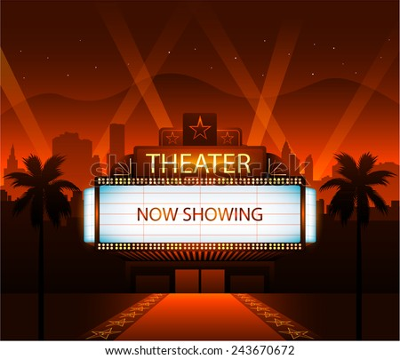 now showing vector theater movie banner のベクター画像素材
