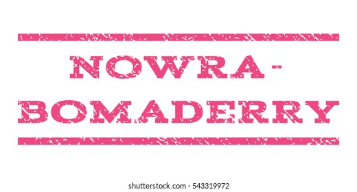 Nowra-Bomaderry watermark stamp. Text caption between horizontal parallel lines with grunge design style. Rubber seal stamp with scratched texture. Vector pink color ink imprint on a white background.