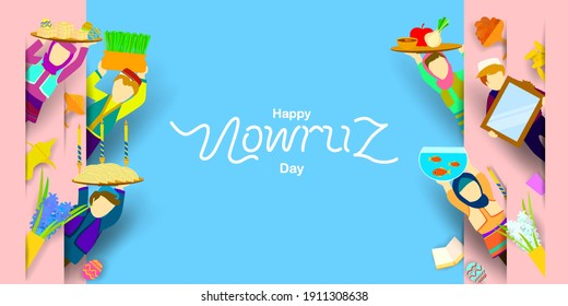 Nowruz celebration with friends. Translation: Happy Persian New Year (Nowruz)