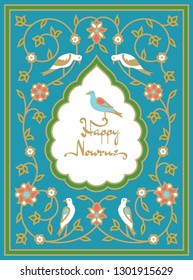 Nowruz greeting card with bird sitting on a text. Iranian new year. Frame with traditional persian pattern.