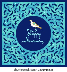 Nowruz greeting card with bird sitting on a text. Iranian new year. Frame with fishes on a water.