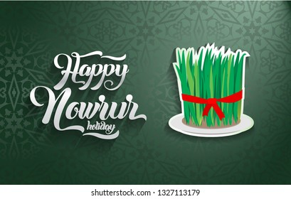 Nowruz greeting. Happy Nowruz holiday. Iranian turkish new year greeting card design.