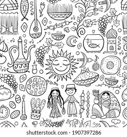 Nowruz, holiday of arrival of spring. Holiday symbols, people, food, customs and traditions. Seamless Pattern for your design. Vector illustration