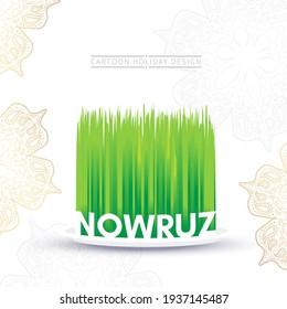 Nowruz holiday greeting card. Novruz bayram in Azerbaijan. Green grass semeni on white background.