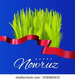 Nowruz holiday. Novruz bayram in Azerbaijan. Green grass semeni with red ribbon. Persian New Year spring festival.