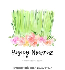 Nowruz holiday vector greeting card design. Green grass samani with abstract spring flowers watercolor illustration. Novruz Persian New Year decoration.