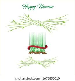 Nowruz semeni, wheat grass floral decorated background. Spring celebration. 21 march.