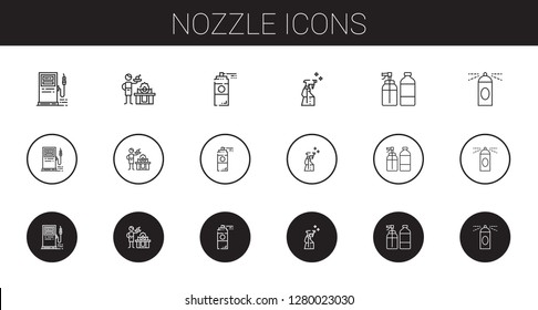 nozzle icons set. Collection of nozzle with gas station, gas, paint spray, spray. Editable and scalable nozzle icons.