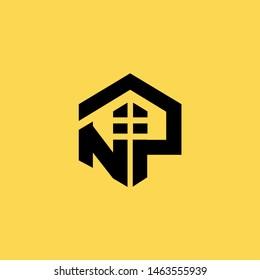 NP alphabet home logo simple  vector design shape picture initial letter