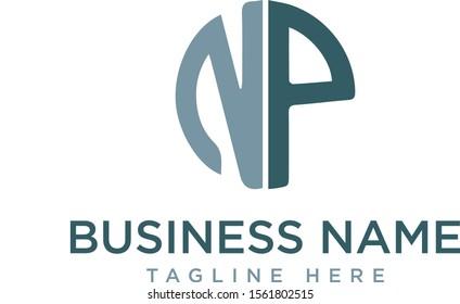 NP alphabet logo-NP letter logo - NP logo - business logo - vector