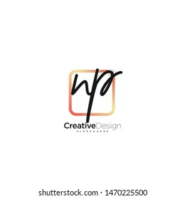 NP initial handwriting with color logo icon template vector.