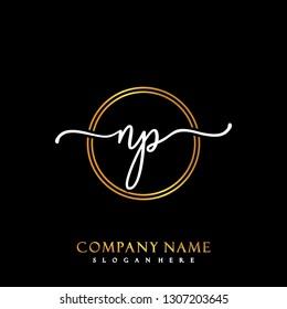 NP Initial Handwriting logo template vector