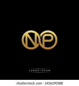 NP initial letter linked circle capital monogram logo modern template
