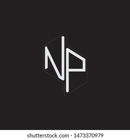 NP Initial Letters logo monogram with up to down style isolated on black background