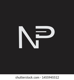NP initial logo Capital Letters black background
