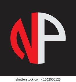 NP Initial Logo design Monogram Isolated on black background