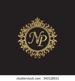 NP initial luxury ornament monogram logo