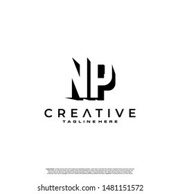 NP Letter Initial Logo Design in shadow shape design concept