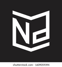 NP Logo Emblem Monogram With Shield Style Design Template Isolated On Black Background
