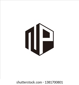 NP Logo Initial Monogram Negative Space Designs Modern Templete with Black color and White Background